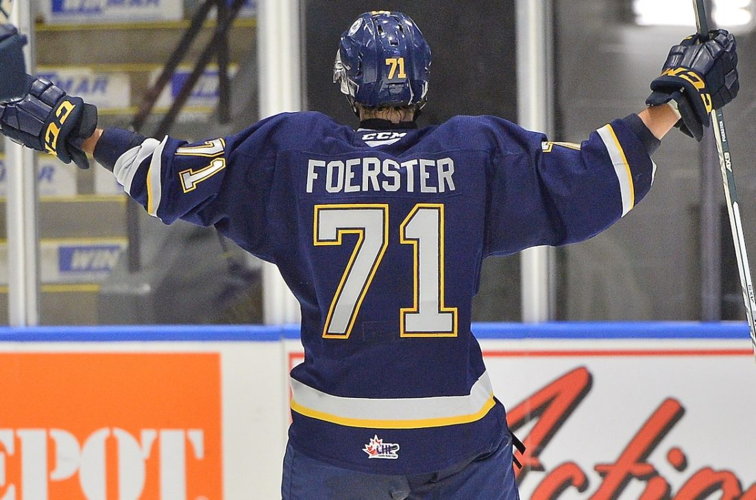 Tyson Foerster of the Barrie Colts. Photo by Terry Wilson / OHL Images.